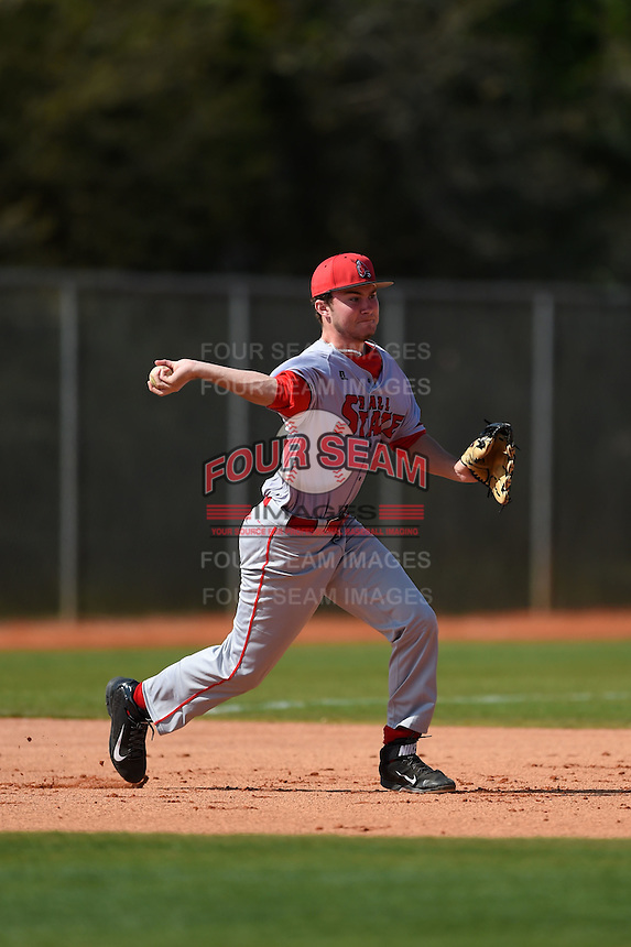 Ball State Cardinals third baseman Zach Milam (33) during practice before a game against the Dartmouth Big Green on March 7, 2015 at North Charlotte Regional Park in Port Charlotte, Florida.  Ball State defeated Dartmouth 7-4.  (Mike Janes/Four Seam Images)