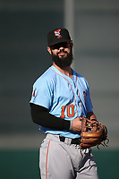 Jordan Serena (10) of the Inland Empire 66ers in the field at third base during a game against the Lancaster JetHawks at The Hanger on September 3, 2017 in Lancaster, California. Lancaster defeated Inland Empire, 5-4. (Larry Goren/Four Seam Images)