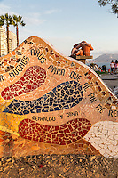 Peru, Lima, Miraflores.  Love Park (Parque del Amor) Mosaic, with Victor Delfin's The Kiss (El Beso) in the background.