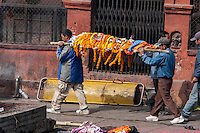 Nepal, Pashupatinath.  Cremation Stages.  Carrying a Corpse, covered in Marigolds and a White Sheet, to the Ghat, the cremation site.
