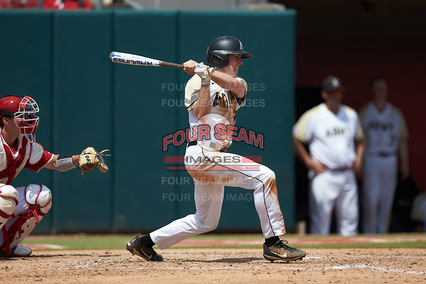 Jacob Hurtubise (39) of the Army Black Knights follows through on his swing against the North Carolina State Wolfpack at Doak Field at Dail Park on June 3, 2018 in Raleigh, North Carolina. The Wolfpack defeated the Black Knights 11-1. (Brian Westerholt/Four Seam Images)