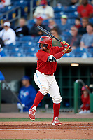 Clearwater Threshers second baseman Drew Stankiewicz (15) at bat during a game against the Dunedin Blue Jays on April 7, 2017 at Spectrum Field in Clearwater, Florida.  Dunedin defeated Clearwater 7-4.  (Mike Janes/Four Seam Images)