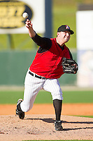 Relief pitcher Phil Negus #45 of the Kannapolis Intimidators in action against the Hickory Crawdads at Fieldcrest Cannon Stadium on April 17, 2011 in Kannapolis, North Carolina.   Photo by Brian Westerholt / Four Seam Images