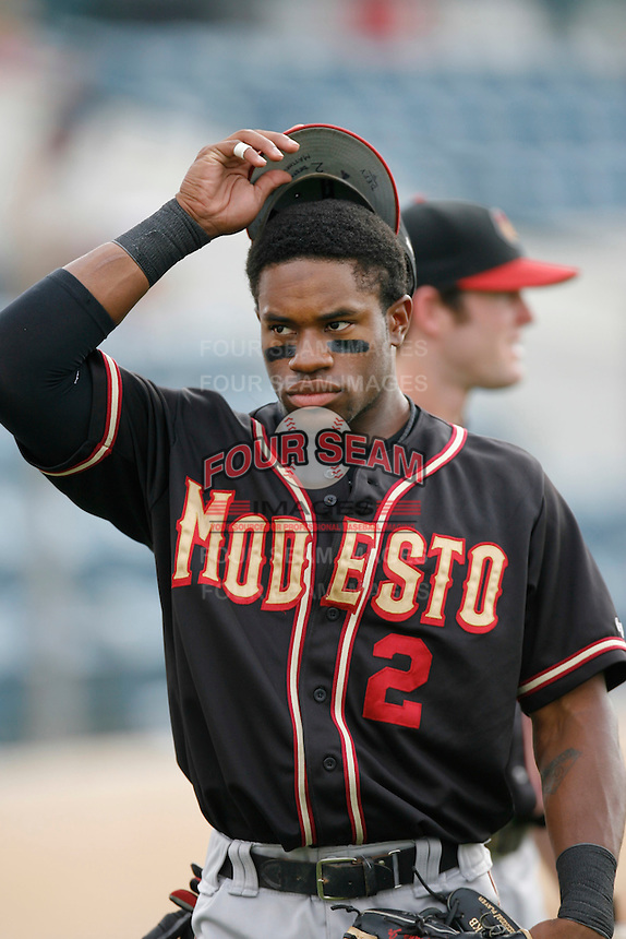 July 22 2007: Eric Young of the Modesto Nuts before game against the Rancho Cucamonga Quakes at The Epicenter in Rancho Cucamonga,CA.  Photo by Larry Goren/Four Seam Images
