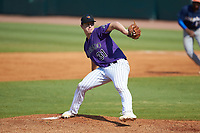 Starting pitcher Grant Taylor (31) of Florence HS in Florence, AL playing for the Colorado Rockies scout team during the East Coast Pro Showcase at the Hoover Met Complex on August 5, 2020 in Hoover, AL. (Brian Westerholt/Four Seam Images)