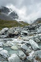 Alpine creek near Douglas Rock Hut in Copland Valley, Westland National Park, West Coast, South Westland, World Heritage Area, New Zealand