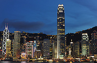 Hong Kong's tallest building the IFC (International Financial Center) in Hong Kong's Victoria harbour with the glittering Hong Kong Island skyline..