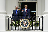 "United States President Donald J. Trump and Prime Minister Benjamin Netanyhu of Israel on the Blue Room Balcony following a signing ceremony of the ""Abraham Accords"" on the South Lawn of the White House in Washington, DC on Tuesday, September 15, 2020.  <br /> Credit: Chris Kleponis / Pool via CNP /MediaPunch"