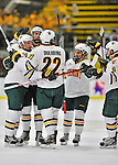 27 January 2012: The University of Vermont Catamounts celebrate their first goal of the game in the second period against the Northeastern University Huskies at Gutterson Fieldhouse in Burlington, Vermont. The Catamounts fell to the Huskies 8-3 in the first game of their 2-game Hockey East weekend series. Mandatory Credit: Ed Wolfstein Photo