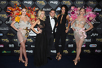 (L-R) Cassandra Foret, Jeremy Urbain and Jade Foret Lagardere attend 'Top Model Belgium 2017' at 'Le Lido' theater on December 18, 2016 in Paris, France.
