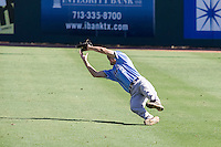 Memphis Tigers second baseman Chad Zurcher #2 makes a diving catch against the Rice Owls in NCAA Conference USA baseball on May 14, 2011 at Reckling Park in Houston, Texas. (Photo by Andrew Woolley / Four Seam Images)