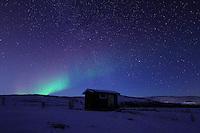 Polarlichter tauchen nachts in der noerdlichen Hemisphaere den Himmel ueber Nordnorwegen in bunte und sich staendig veraendernde Farben. Aurora borealis Waving over North Norway near Troms..Copyright © Zvonimir Pisonic