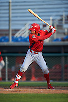 Williamsport Crosscutters shortstop Arquimedes Gamboa (4) at bat during a game against the Auburn Doubledays on June 26, 2016 at Falcon Park in Auburn, New York.  Auburn defeated Williamsport 3-1.  (Mike Janes/Four Seam Images)