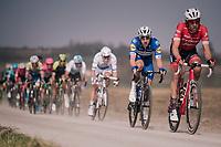 Elia Viviani (ITA/QuickStep Floors) rolling over the 'Plugstreets' in the peloton<br /> <br /> 81st Gent-Wevelgem in Flanders Fields (1.UWT)<br /> Deinze > Wevelgem (251km)