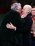 """Harvey Fierstein and Richie Jackson during the Broadway Opening Night Curtain Call for """"Torch Song"""" at the Hayes Theater on November 1, 2018 in New York City."""