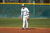 Wingate Bulldogs shortstop Carson Simpson (3) on defense against the Concord Mountain Lions at Ron Christopher Stadium on February 2, 2020 in Wingate, North Carolina. The Mountain Lions defeated the Bulldogs 12-11. (Brian Westerholt/Four Seam Images)