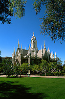 Famous spires at the Mormon Religion Assembly Hall in Salt Lake City Utah