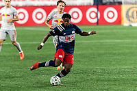 FOXBOROUGH, MA - AUGUST 29: DeJuan Jones #24 of New England Revolution passes the ball during a game between New York Red Bulls and New England Revolution at Gillette Stadium on August 29, 2020 in Foxborough, Massachusetts.
