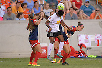 Houston, TX - Sunday Oct. 09, 2016: Taylor Smith, Christine Nairn during the National Women's Soccer League (NWSL) Championship match between the Washington Spirit and the Western New York Flash at BBVA Compass Stadium.