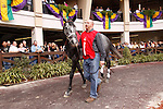 January 2010: Friesan Fire walks around the paddock before the Louisiana Handicap at the Fairgrounds in New Orleans, La.