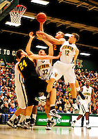 30 January 2010: University at Albany Great Danes' guard/forward Logan Aronhalt (2), a Freshman from Zanesville, Ohio, in action against the University of Vermont Catamounts at Patrick Gymnasium in Burlington, Vermont. The Catamounts defeated the Danes 64-46 in the America East matchup. Mandatory Credit: Ed Wolfstein Photo