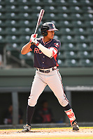 Center fielder Cristian Pache (25) of the Rome Braves bats in game one of a doubleheader against the Greenville Drive on Tuesday, May 30, 2017, at Fluor Field at the West End in Greenville, South Carolina. Rome won, 10-7. (Tom Priddy/Four Seam Images)