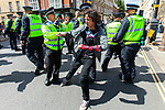 © Joel Goodman - 07973 332324 . 09/07/2011 . Cambridge , UK . Police push a counter demonstrator aside . The English Defence League hold a march and demonstration in Cambridge, opposed by a coalition of anti-fascist groups . Photo credit : Joel Goodman