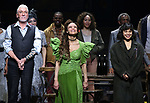 Patrick Page, Amber Gray, Eve Noblezada during Broadway Opening Night Performance Curtain Call for 'Hadestown' at the Walter Kerr Theatre on April 17, 2019 in New York City.