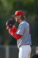 Illinois State Redbirds starting pitcher Steve Heilenbach (10) looks in for the sign during a game against the Ohio State Buckeyes on March 5, 2016 at North Charlotte Regional Park in Port Charlotte, Florida.  Illinois State defeated Ohio State 5-4.  (Mike Janes/Four Seam Images)