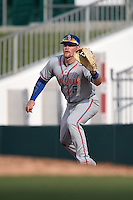 St. Lucie Mets first baseman Matt Oberste (5) stretches for a throw during a game against the Fort Myers Miracle on April 19, 2015 at Hammond Stadium in Fort Myers, Florida.  Fort Myers defeated St. Lucie 3-2 in eleven innings.  (Mike Janes/Four Seam Images)
