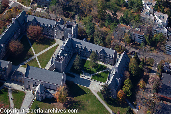 aerial photograph of the courtyards of the Garduate College, Princeton University, Princeton, Mercer County, New Jersey
