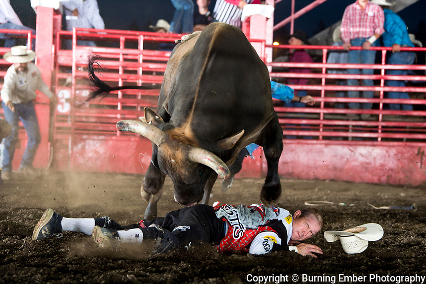 After losing his footing Nate Jestes becomes small as Corey & Lange's bull 413 takes a leap over at the Xtreme Bulls event at the Gem State Stampede August 23rd, 2018 in Couer D'Alene ID.  Photo by Josh Homer/Burning Ember Photography.  Photo credit must be given on all uses.