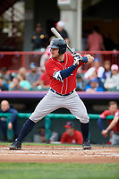 New Hampshire Fisher Cats left fielder Connor Panas (15) at bat during a game against the Erie SeaWolves on June 20, 2018 at UPMC Park in Erie, Pennsylvania.  New Hampshire defeated Erie 10-9.  (Mike Janes/Four Seam Images)
