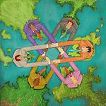 Illustrative image of multi ethnic business people holding hands on world map