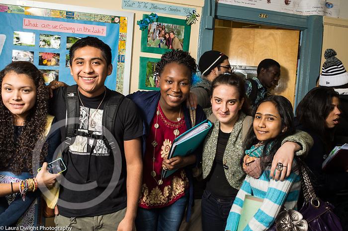 Education High School group of friends in corridor