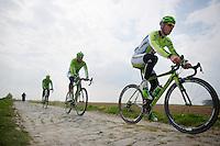 Peter Sagan (SVK/Cannondale) and teammates testing the cobbles<br /> <br /> 2014 Paris-Roubaix reconnaissance