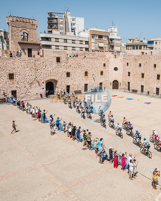 The start of Stage 8 of La Vuelta d'Espana 2021, running 173.7km from Santa Pola to La Manga del Mar Menor, Spain. 21st August 2021.     <br /> Picture: Charly Lopez/Unipublic   Cyclefile<br /> <br /> All photos usage must carry mandatory copyright credit (© Cyclefile   Unipublic/Charly Lopez)