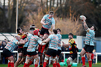 Tom Williams of Blackheath Rugby claims the line-out ball from Tom Baldwin during the English National League match between Richmond and Blackheath  at Richmond Athletic Ground, Richmond, United Kingdom on 4 January 2020. Photo by Carlton Myrie.