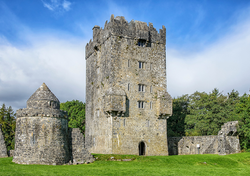 """Aughnanure Castle, located in Oughterard, County Galway, Ireland, is a """"tower house"""" built during the 16th century by the O'Flaherty clan."""