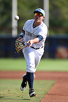 Charlotte Stone Crabs first baseman Jake Bauers (23) flips the ball to first during a game against the Daytona Tortugas on April 14, 2015 at Charlotte Sports Park in Port Charlotte, Florida.  Charlotte defeated Daytona 2-0.  (Mike Janes/Four Seam Images)