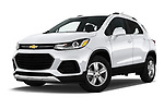 Stock pictures of low aggressive front three quarter view of a 2018 Chevrolet Trax LT 5 Door SUV