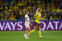 LE HAVRE, FRANCE - JUNE 20: Kelley O'Hara #5, Sofia Jakobsson #10 during a 2019 FIFA Women's World Cup France group F match between the United States and Sweden at Stade Océane on June 20, 2019 in Le Havre, France.