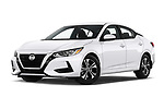 Stock pictures of low aggressive front three quarter view of 2020 Nissan Sentra SV 4 Door Sedan Low Aggressive