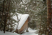 Appalachian Trail - Ethan Pond Shelter is a Adirondack style shelter located just off the Ethan Pond Trail in the White Mountains, New Hampshire USA.