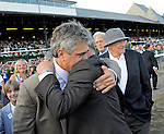 5 September 2009: Rachel Alexandra's trainer Steven Asmussen (left)  and assistant trainer Scott Blasi celebrate her win in the Woodward Stakes at Saratoga Race Track in Saratoga Springs, New York