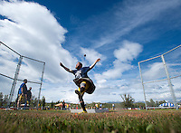 Spencer Tyler competes in the stone throw during the 2015 Alaska Scottish Highland Games at the Palmer fairgrounds.