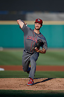 Lehigh Valley IronPigs starting pitcher Drew Anderson (40) delivers a pitch during a game against the Rochester Red Wings on September 1, 2018 at Frontier Field in Rochester, New York.  Lehigh Valley defeated Rochester 2-1.  (Mike Janes/Four Seam Images)