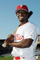Feb 20, 2009; Clearwater, FL, USA; The Philadelphia Phillies infielder Pablo Ozuma (34) during photoday at Bright House Field. Mandatory Credit: Tomasso De Rosa/ Four Seam Images