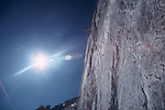 National Outdoor Leadership School climber, rappelling, North Cascades National Park, Cascade Mountains, Washington State, Pacific Northwest, U.S.A., Bill Berg,.