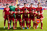 Players of Vietnam line up and pose for photos prior to the AFC Asian Cup UAE 2019 Group D match between Vietnam (VIE) and I.R. Iran (IRN) at Al Nahyan Stadium on 12 January 2019 in Abu Dhabi, United Arab Emirates. Photo by Marcio Rodrigo Machado / Power Sport Images